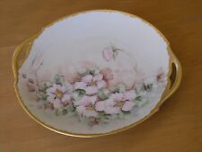 "Limoges France Antique Hand Painted Handled Porcelain Tray Plate Floral 11""+"