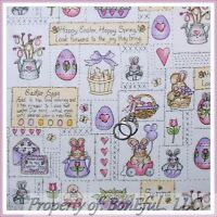 BonEful FABRIC FQ Cotton Quilt Spring Easter Patchwork Country Flower Bunny Egg