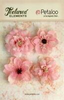 Burlap Flowers 4 x Lt PINK Approx 55-60mm across & varied centres Petaloo BUR E