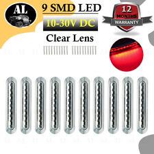 "10X 9LED 6.7"" Red Clear Lens Side Marker Indicator Light Truck Trailer Sealed"