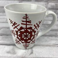 Starbucks Coffee Mug 2012 Red Snowflakes Ceramic Christmas Holiday Winter