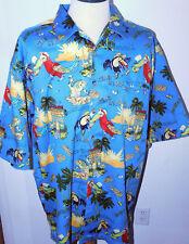 Margaritaville Flip Flops Shirt Jimmy Buffet Parrots Blue Size 3X Short Sleeve