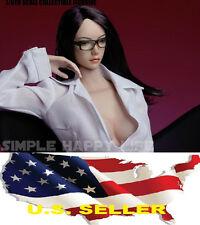 SUPERDUCK SDH002B 1/6 female head long straight black hair for PALE Phicen