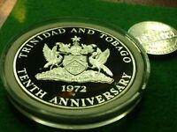 STERLING SILVER Proof 1972 TRINIDAD 10 DOLLARS w NEW HOLDER. Commemorative Issue