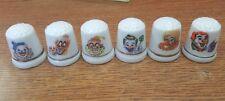 Vintage Lot of 6 Clown Thimble Bone China Porcelain