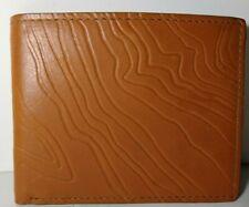 Fossil Baja Traveler Men's Wallet Whisky Brown Leather Embossed Bifold ID RFID