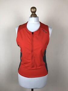 Pearl Izumi Womens Cycling Jersey Sleeveless Zipper Red Gray Size L