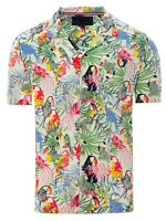 Soulstar Mens Cubano Collar Short Sleeve Summer Parrot Hawaiian Shirt Mint Green