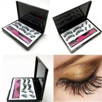 8Pcs Dual Magnetic False Eyelashes Cross Long Lashes Makeup Tool Glue-free Mixed