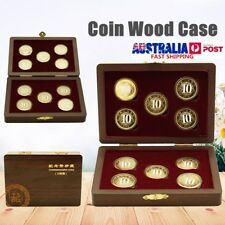 10 Coin Wood Case Display Collection Box Wooden Storage Holder Round Capsule