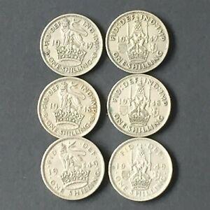 One shilling coin, George VI, 1947 -1949 x 6 (Scottish x 3; English x 3)