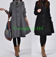 Women Lady's Loose Trench Cape Coat Wool Blend Fashion Outwear Jacket Coat New 1