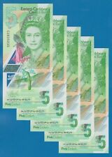 5 NOTES East Caribbean States 5 Dollars P New 2021 Polymer UNC Queen Elizabeth