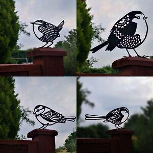Robin, Wren, Blue tit, Long Tailed tit Garden bird Silhouette Metal Fence Topper