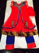 "30"" Age 6-9 Fancy Dress Bollywood Salwar Kameez Indian Girls Party Red  Dress"