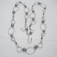 Lia sophia signed jewelry silver tone long faux pearl round link necklace chain