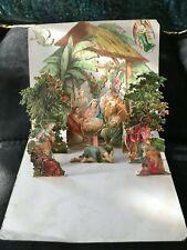 Antique Vintage Pop Up Christmas Card Nativity Scene 3D Detail Exquisite