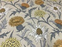 Thistles Soft Grey/Ochre Foral Cotton 140cm wide Curtain/Craft Fabric