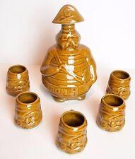 Vintage Ceramic TIKI Pirate Decanter Set w/ Glasses Barware Rum Whiskey Cocktail
