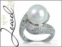 SARAH KERN Ring echt Silber 925 Sterling rhodiniert Zirkonia und Perle 54/17,2MM