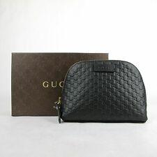New Gucci Black Leather Microguccissima Cosmetic Bag Toiletry Case 449893 1000