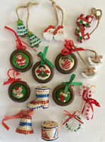 14 Vintage Handmade Christmas Ornaments Beads Sequins Lace Wood Cross-stitch