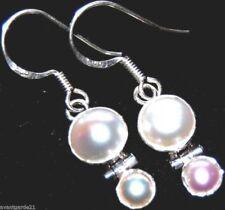 """FWC White PEARL, Sterling 925 SILVER Dangle Earring Earrings Jewellery, 1½"""" long"""