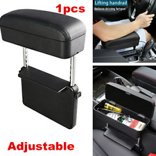 Retractable Car Center Console Arm Rest Box Leather Seat Gap Organizer Black
