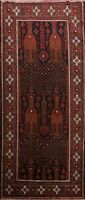 Vintage Nomad Geometric Meshkin Runner Rug Hand-knotted Oriental Staircase 4x10
