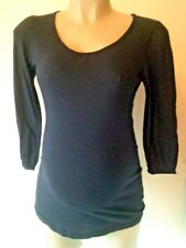 H&M MAMA MATERNITY NAVY BLUE SCOOP NECK 3/4 SLEEVED T-SHIRT TOP SIZE S 8-10