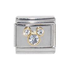 Mickey Head clear stones enamel Italian Charm - fits 9mm Classic bracelets