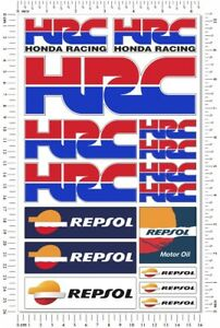 HRC Repsol Honda Racing Motorcycle Decals Laminated 16 Stickers Set CBR RR