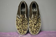 Vans Off the Wall Brown/Beige Funky Print Slip-On Skate Shoes M: 8.5 WO'S: 10