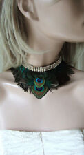 """Green Teal Duck + Peacock Feathers Choker Necklace Neck Corsage """"Kath"""" Bridal"""