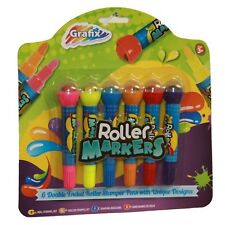 6 Roller Stamper Pens Ideal Stocking Gift Xmas Art Craft Party Childrens Kids