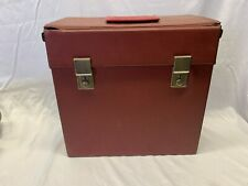 """Vintage Faux Leather Red 12"""" Record Box"""