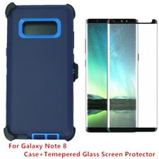 Samsung Note 8 Defender Case w/Tempered Glass Screen & Clip fits Otterbox Navy