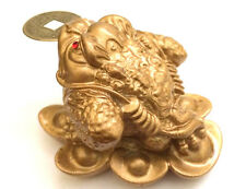 GOLD Feng Shui Money Frog /Money Toad Attract Wealth US Seller