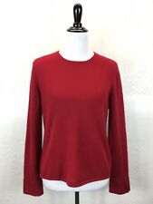 #S40 Vtg 100% Cashmere Sz L Red Scoop Neck Sweater Barrie Pace