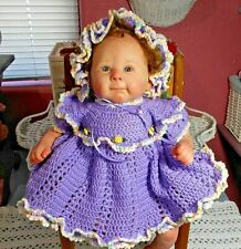 OOAK crochet dress and bonnet purple w/multi-color trim Newborn/Reborn doll