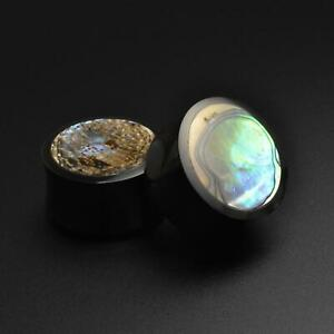Horn Ear Gauges Plugs Horn Double Flare Plug With Abalone Shell Inlay
