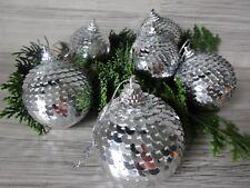 6 Christbaumkugeln mit Pailletten--SILBER--Baumschmuck--Kugel