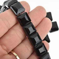 12mm JET BLACK Square Crystal Glass Beads x15 beads bgl1748