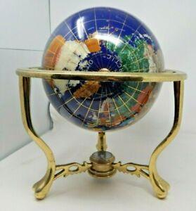 "ALEXANDER KALIFANO Gemstone WORLD GLOBE Inlay 16"" BIG BRASS Lapis MotherOfPearl"