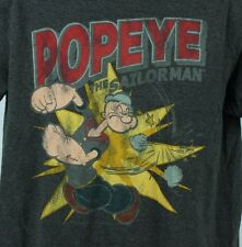 Popeye The Sailorman Mens L TShirt Gray Muscle MMA Grey Funny Cartoon Large