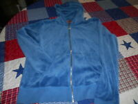 JUICY COUTURE VELOUR ZIP LOUNGE TRACK JACKET HOODIE XL BLUE