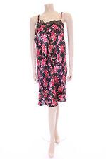 Ladies Black Spot Satin & Lace Chemise Negliee Slip Marlon Size 8-10 Night Dress