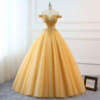 Gold Prom Ball Gown Appliqué Off Shoulder Quinceanera Formal Evening Dresses