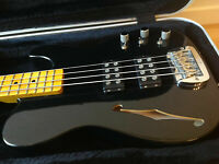 G&L ASAT Classic Semi Hollow TeleBass made in USA, Hipshot & Suitcase, Maple