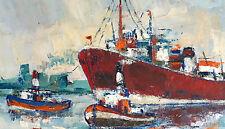 Tableau Peinture sur Toile Marine Impressionniste Signé & Encadré